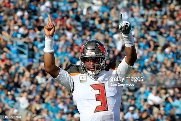 Jameis Winston of the Tampa Bay Buccaneers celebrates a touchdown during the game against the Jacksonville Jaguars at TIAA Bank Field on December 01...