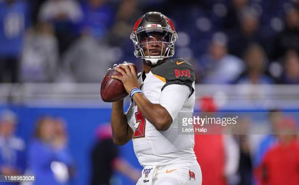 Jameis Winston of the Tampa Bay Buccaneers drops back to pass during the first quarter of the game against the Detroit Lions at Ford Field on...