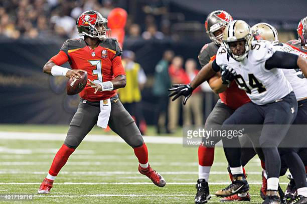Jameis Winston of the Tampa Bay Buccaneers drops back to pass during a game against the New Orleans Saints at MercedesBenz Superdome on September 20...