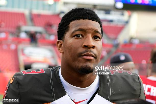Jameis Winston of the Tampa Bay Buccaneers gets interviewed after defeating the San Francisco 49ers 279 at Raymond James Stadium on November 25 2018...