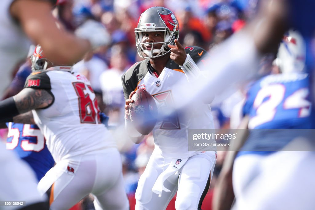 Jameis Winston #3 of the Tampa Bay Buccaneers holds the ball during the second quarter of an NFL game agains the Buffalo Bills on October 22, 2017 at New Era Field in Orchard Park, New York.
