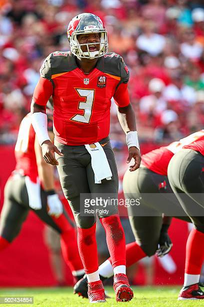 Jameis Winston of the Tampa Bay Buccaneers in action during the game against the New Orleans Saints at Raymond James Stadium on December 13 2015 in...