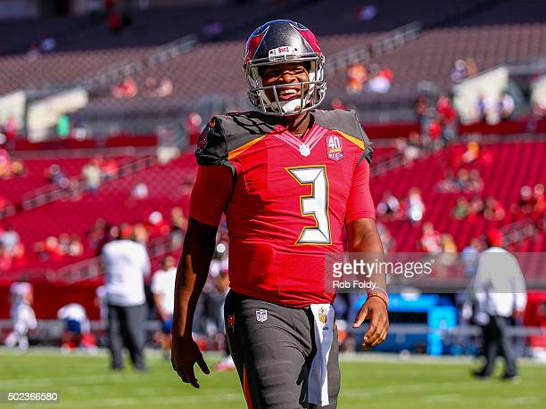 Jameis Winston of the Tampa Bay Buccaneers looks on before the game against the Atlanta Falcons at Raymond James Stadium on December 6 2015 in Tampa...