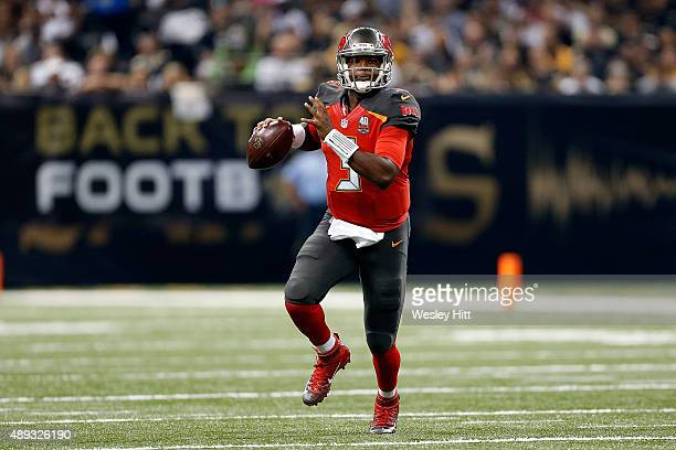 Jameis Winston of the Tampa Bay Buccaneers looks to pass during the first quarter of a game against the New Orleans Saints at the MercedesBenz...