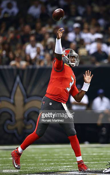 Jameis Winston of the Tampa Bay Buccaneers looks to pass during the second quarter of a game against the New Orleans Saints at the MercedesBenz...