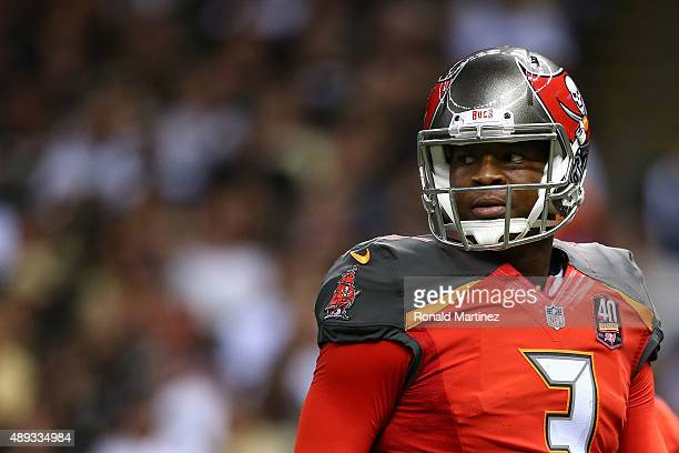 Jameis Winston of the Tampa Bay Buccaneers looks to the sideline during the fourth quarter of a game against the New Orleans Saints at the...