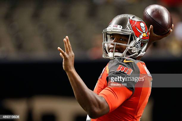 Jameis Winston of the Tampa Bay Buccaneers participates in warmups prior to a game against the New Orleans Saints at the MercedesBenz Superdome on...