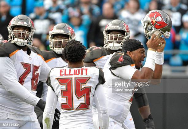 Jameis Winston of the Tampa Bay Buccaneers reacts after fumbling during the final minute of their game against the Carolina Panthers at Bank of...