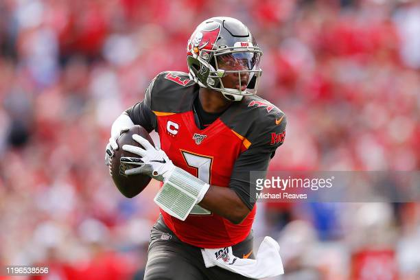 Jameis Winston of the Tampa Bay Buccaneers runs into the endzone to convert a twopoint conversion against the Atlanta Falcons during the first half...