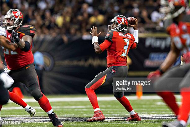 Jameis Winston of the Tampa Bay Buccaneers throws a pass during a game against the New Orleans Saints at MercedesBenz Superdome on September 20 2015...