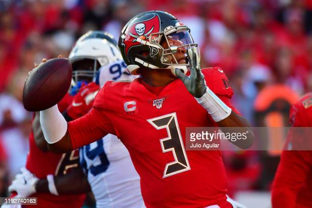 Jameis Winston of the Tampa Bay Buccaneers throws a pass during the fourth quarter of a football game against the Indianapolis Colts at Raymond James...