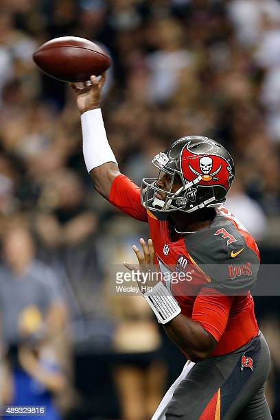 Jameis Winston of the Tampa Bay Buccaneers throws a pass during the second quarter of a game against the New Orleans Saints at the MercedesBenz...