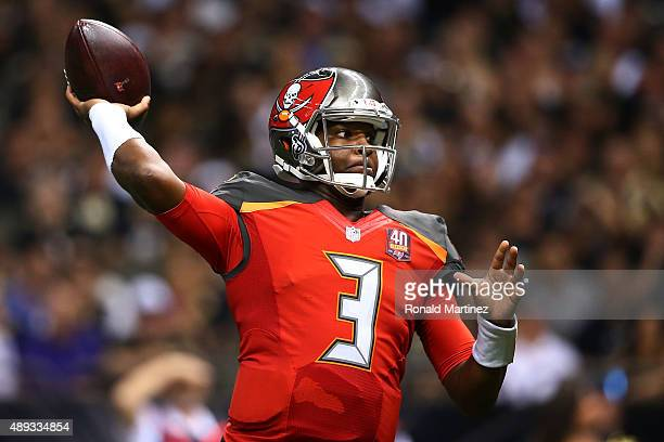 Jameis Winston of the Tampa Bay Buccaneers throws a pass during the fourth quarter of a game against the New Orleans Saints at the MercedesBenz...