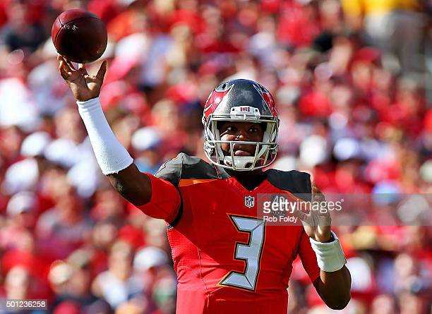 Jameis Winston of the Tampa Bay Buccaneers throws during the first half of the game against the New Orleans Saints at Raymond James Stadium on...