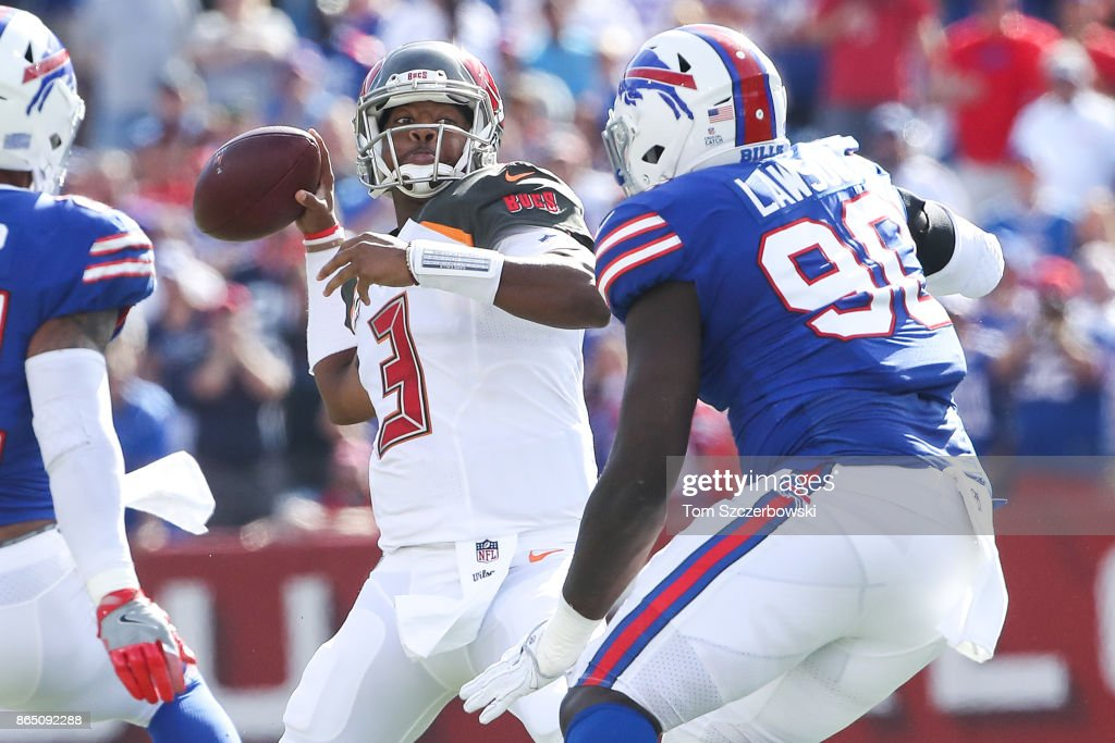 Jameis Winston #3 of the Tampa Bay Buccaneers throws the ball in the first quarter of an NFL game against the Buffalo Bills on October 22, 2017 at New Era Field in Orchard Park, New York.