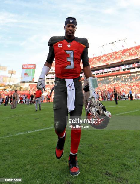 Jameis Winston of the Tampa Bay Buccaneers walks off the field after a game against the Atlanta Falcons at Raymond James Stadium on December 29 2019...