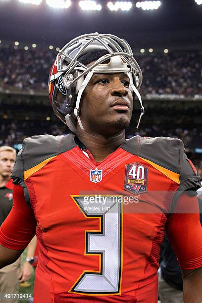 Jameis Winston of the Tampa Bay Buccaneers walks off the field after a game against the New Orleans Saints at MercedesBenz Superdome on September 20...