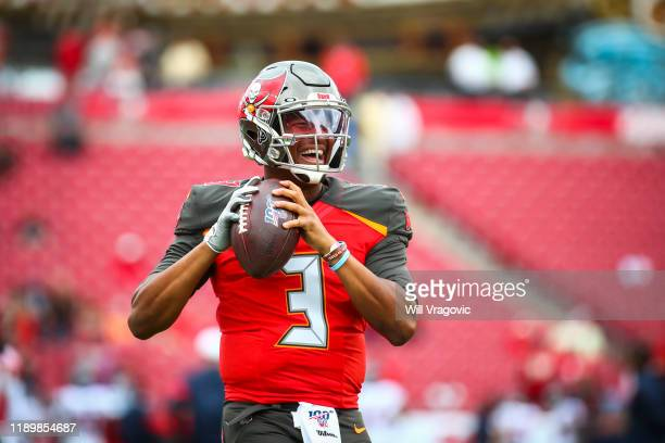 Jameis Winston of the Tampa Bay Buccaneers warms up before the game against the Houston Texans on December 21 2019 at Raymond James Stadium in Tampa...