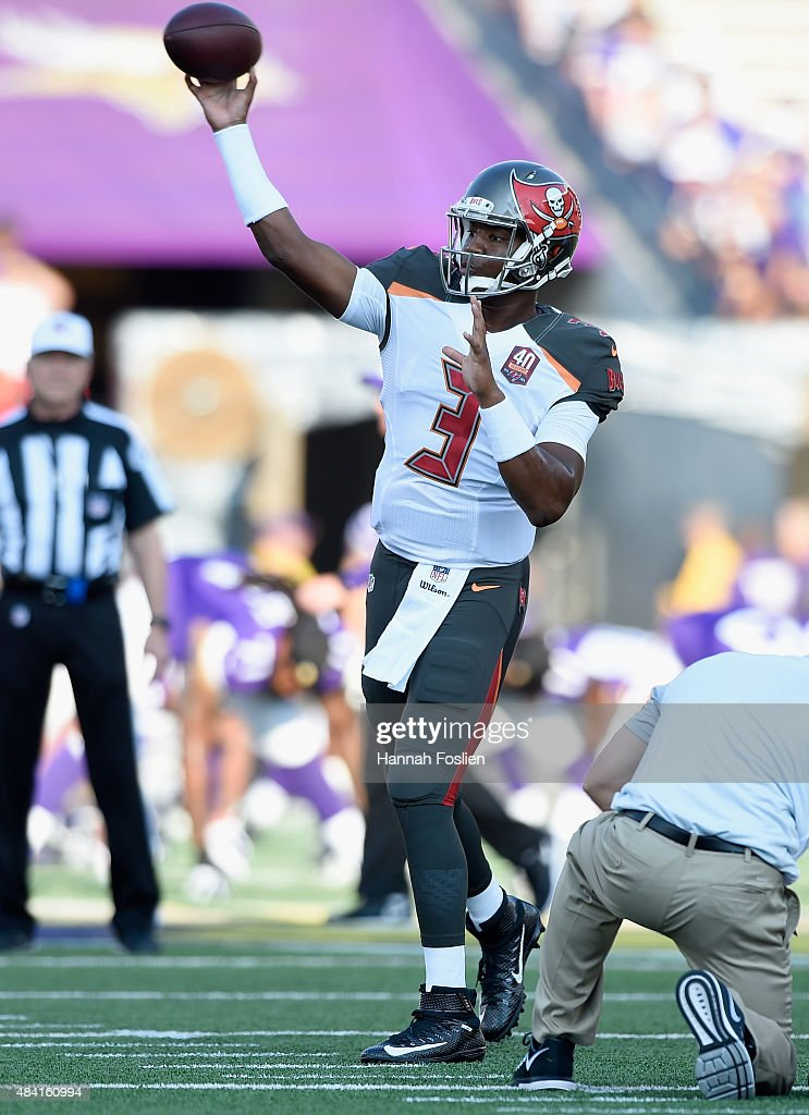 Jameis Winston #3 of the Tampa Bay Buccaneers warms up before the preseason game against the Minnesota Vikings on August 15, 2015 at TCF Bank Stadium in Minneapolis, Minnesota.