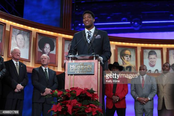 Jameis Winston quarterback of the Florida State Seminoles speaks after being named the 79th Heisman Memorial Trophy Award winner during the 2013...