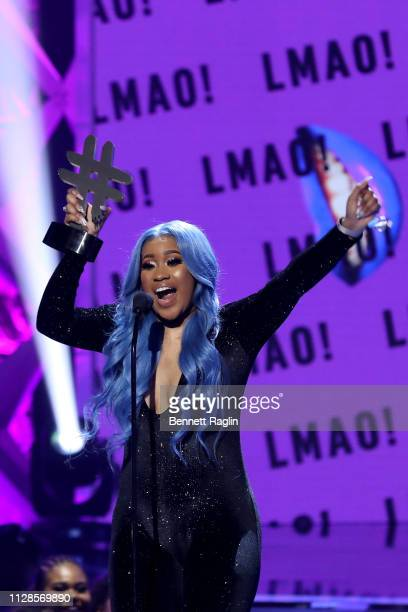 Jameisha Cole accepts an award onstage during the 2019 BET Social Awards at Tyler Perry Studio on March 3 2019 in Atlanta Georgia