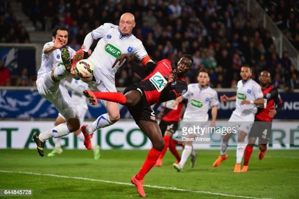 Jamel AIT BEN IDIR / Sebastien PUYGRENIER / Sambou YATABARE Auxerre / Guingamp 1/2Finale de Coupe de France Photo Dave Winter / Icon Sport