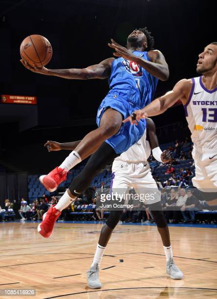 Jamel Artis of the Agua Caliente Clippers of Ontario goes to the basket against Taren Sullivan of the Stockton Kings on January 19 2019 at Citizens...