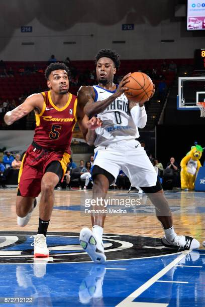 Jamel Artis of the Lakeland Magic drives against Arthur Edwards of the Canton Charge during the game on November 10 2017 at RP Funding Center in...