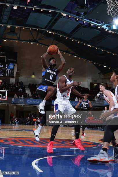 Jamel Artis of the Lakeland Magic drives to the basket against the Westchester Knicks during an NBA GLeague game on November 19 2017 at Westchester...