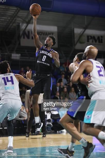 Jamel Artis of the Lakeland Magic dunks against the Greensboro Swarm on February 9 2018 at Greensboro Coliseum Fieldhouse in Greensboro North...