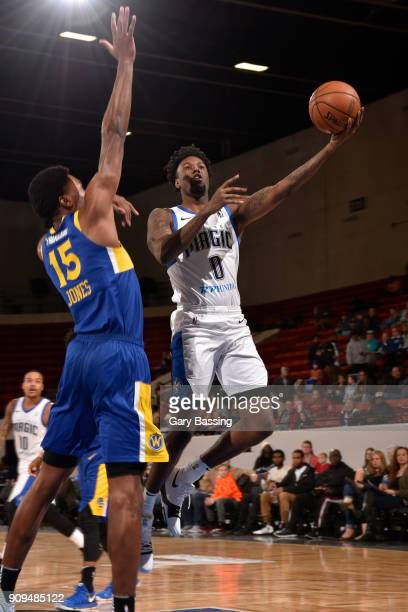 Jamel Artis of the Lakeland Magic goes for a lay up against the Santa Cruz Warriors on January 5 2018 at RP Funding Center in Lakeland Florida NOTE...