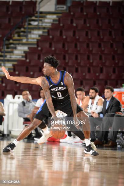 Jamel Artis of the Lakeland Magic handles the ball during the game against the Memphis Hustle at the NBA G League Showcase Game 14 on January 11 2018...
