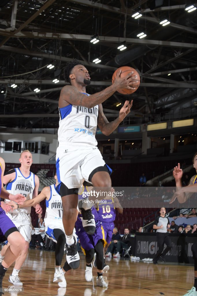 Jamel Artis #0 of the Lakeland Magic handles the ball during the NBA G-League Showcase Game 24 between the South Bay Lakers and the Lakeland Magic on January 13, 2018 at the Hershey Centre in Mississauga, Ontario Canada.