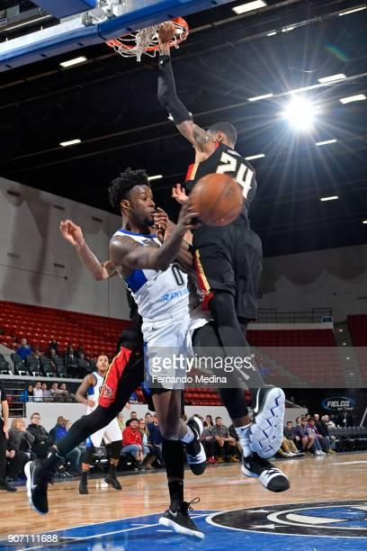 Jamel Artis of the Lakeland Magic passes the ball against Raphiael Putney of the Erie Bayhawks during the game on January 17 2018 at RP Funding...