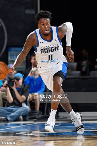 Jamel Artis of the Lakeland Magic pushes the ball up court against the Erie Bayhawks during the game on November 12 2017 at RP Funding Center in...