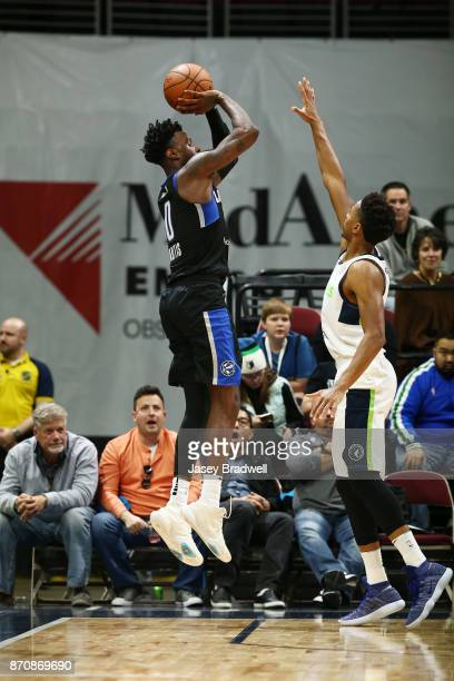 Jamel Artis of the Lakeland Magic shoots a jumpshot over the Iowa Wolves in an NBA GLeague game on November 4 2017 at the Wells Fargo Arena in Des...