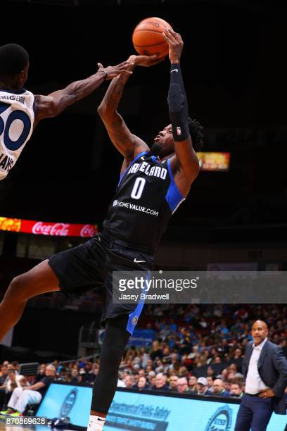 Jamel Artis of the Lakeland Magic shoots over Jarvis Williams of the Iowa Wolves in an NBA GLeague game on November 4 2017 at the Wells Fargo Arena...