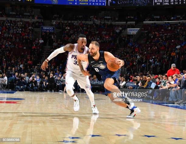 Jamel Artis of the Orlando Magic drives to the basket against Philadelphia 76ers during game at the Wells Fargo Center on February 24 2018 in...