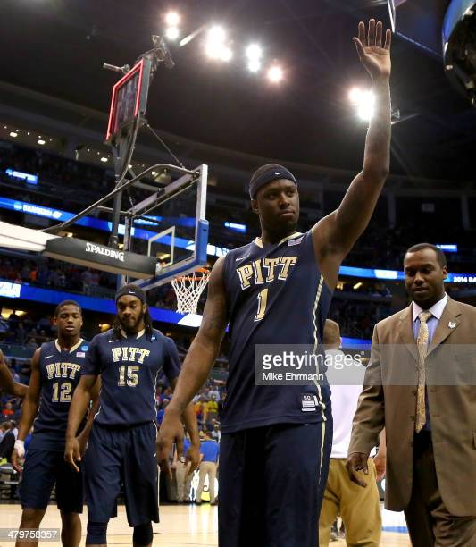 Jamel Artis of the Pittsburgh Panthers celebrates after the Panthers defeat the Colorado Buffaloes 7748 during the second round of the 2014 NCAA...