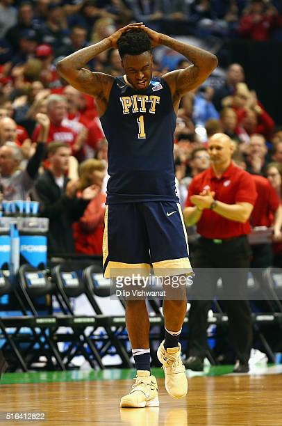 Jamel Artis of the Pittsburgh Panthers reacts after being defeated by the Wisconsin Badgers 47-43 during the first round of the 2016 NCAA Men's...