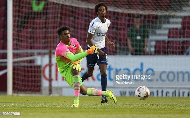 Jamel Blackman of Wycombe Wanderers in action during the checkatradecom Trophy match between Northampton Town and Wycombe Wanderers at Sixfields...