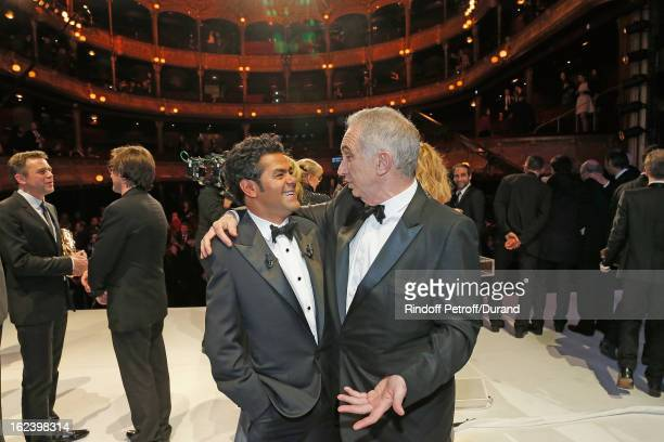 Jamel Debbouze and Alain Terzian speak on stage after the Cesar Film Awards 2013 at Theatre du Chatelet on February 22 2013 in Paris France