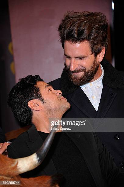 Jamel Debbouze and Gregoire Ludig attend the La Vache Paris Premiere at Pathe Wepler on February 14 2016 in Paris France