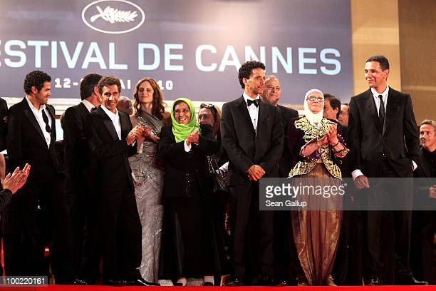 Jamel Debbouze Chafia Boudraa Rachid Bouchareb Sami Bouajila and Roschdy Zem attend the 'Outside Of The Law' Premiere at the Palais des Festivals...