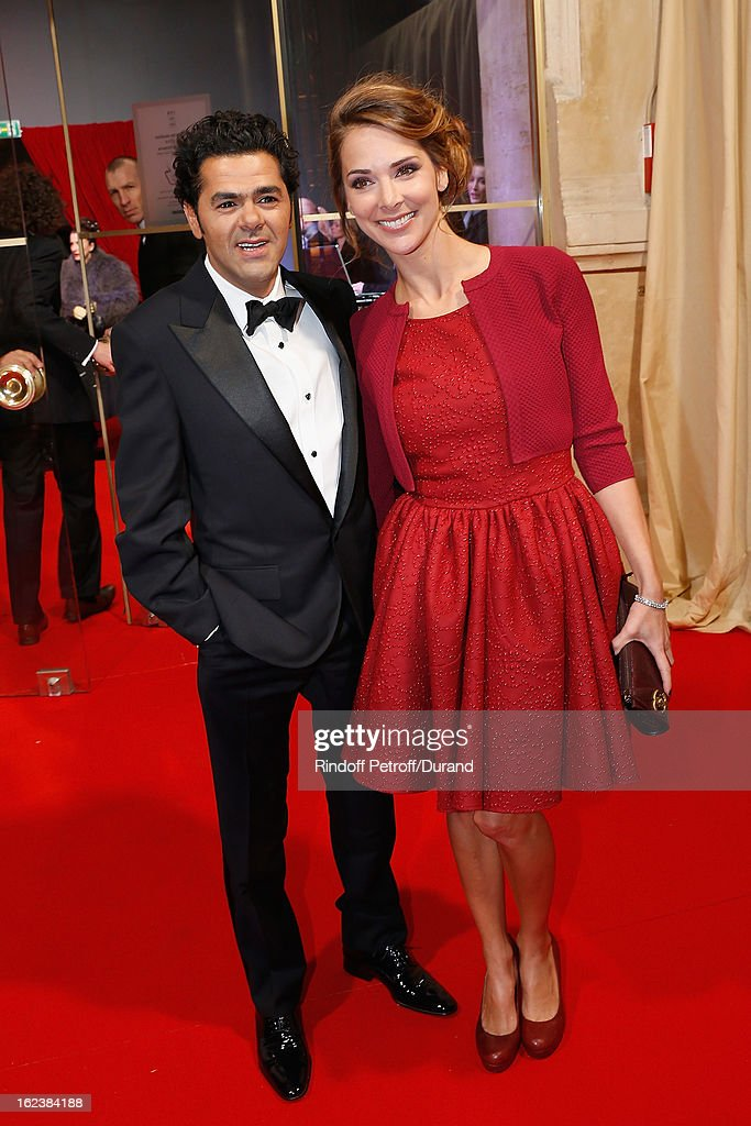Jamel Debbouze, President of the Cesar Awards 2013 ceremony (L) and Melissa Theuriau arrive to attend the Cesar Film Awards 2013 at Theatre du Chatelet on February 22, 2013 in Paris, France.