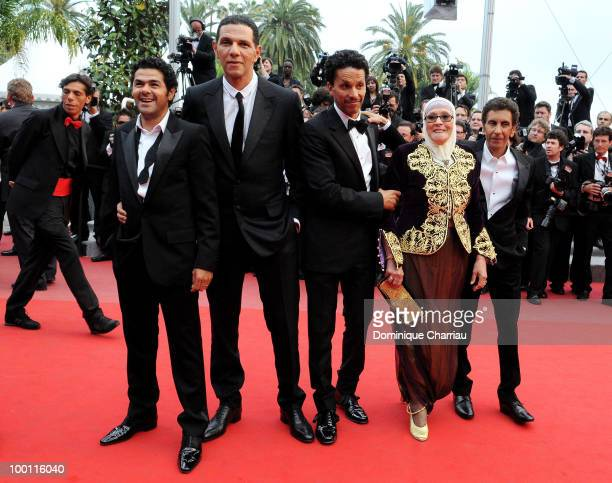 Jamel Debbouze Roschdy Zem Sami Bouajila Chafia Boudraa and Rachid Bouchareb attend the 'Outside the Law' Premiere at the Palais des Festivals during...