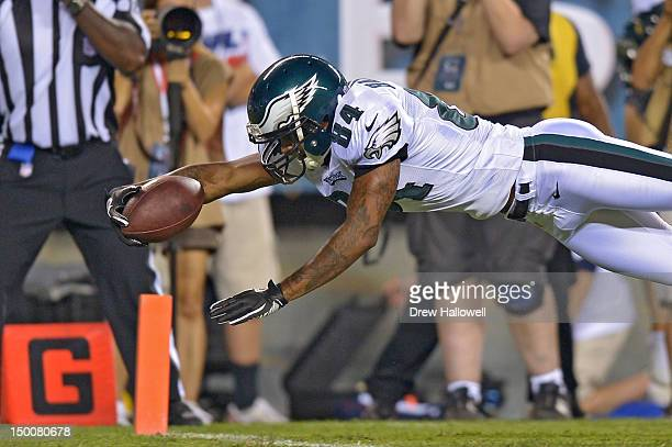 Jamel Hamler of the Philadelphia Eagles dives into the end zone for a touchdown during the game against the Pittsburgh Steelers at Lincoln Financial...