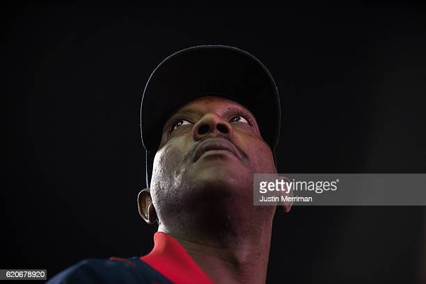 Jamel Hamm of Cleveland watches a big screen outside of Progressive Field during game 7 of the World Series between the Cleveland Indians and the...