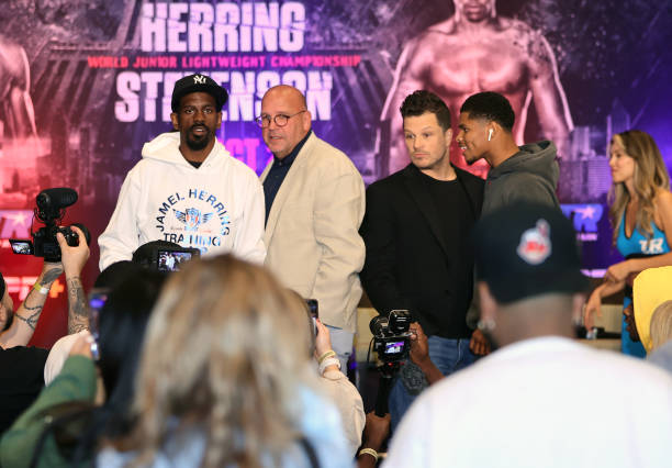 Jamel Herring and Shakur Stevenson pose during the press conference prior to their WBO world junior lightweight championship fight at Omni Atlanta...