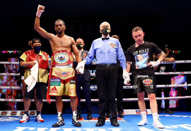 Jamel Herring of the USA celebrates victory as Carl Frampton of Northern Ireland reacts during the WBO World Super Featherweight Title Fight between...